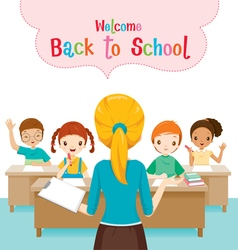 Teacher Teaching Students In Classroom vector image