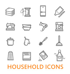 Thin line household icons set vector