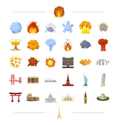 Travel landmark monument and other web icon vector