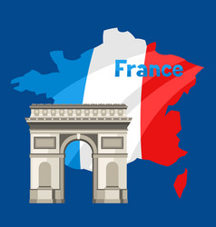 triumphal arch on map france vector image
