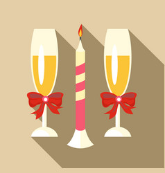 two champagne glasses icon flat style vector image