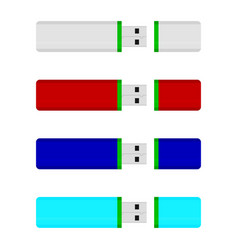 usb flash drive colored collection vector image