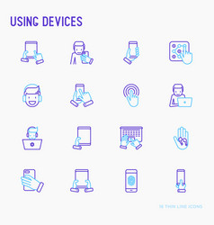 using devices thin line icons set vector image
