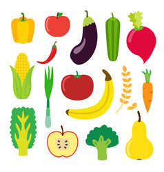Vegetables and fruit set for smoothie hipster vector