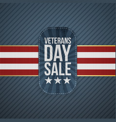 Veterans day sale realistic badge and ribbon vector
