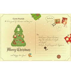 Vintage Postcard Christmas vector