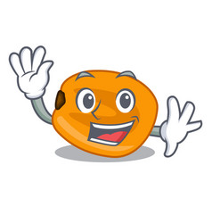 Waving corn nuts are on mascot plate vector