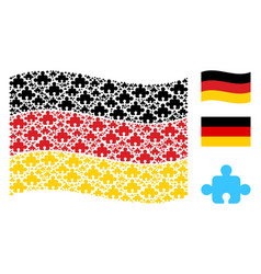 waving germany flag pattern of component icons vector image