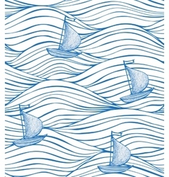 white background with blue waves and boats vector image