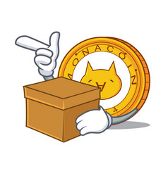 with box monacoin character cartoon style vector image