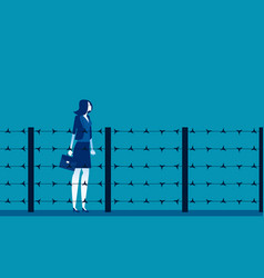 Woman and fence barbed wire concept business vector