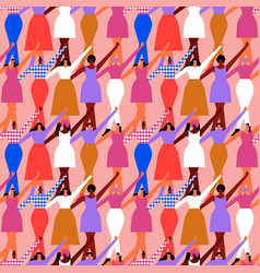 womens day diverse woman crowd seamless pattern vector image