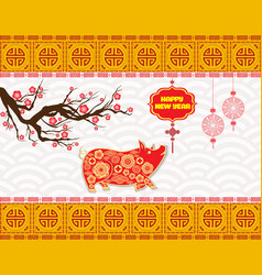 Year of the pig and chinese new year 2019 with vector