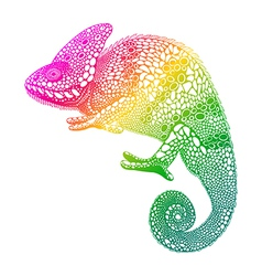 Zentangle stylized multi coloured Chameleon Hand vector