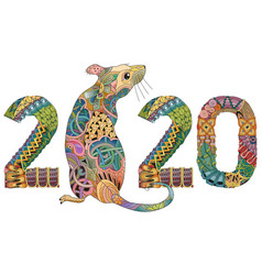 Zentangle stylized rat number 2020 hand drawn vector