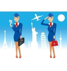 attractive stewardess holding briefcase vector image