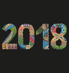 number 2018 zentangle on a dark background vector image