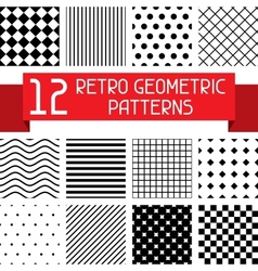 Set of 12 retro geometric patterns vector image vector image