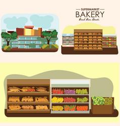set of supermarket departments fruit food store vector image