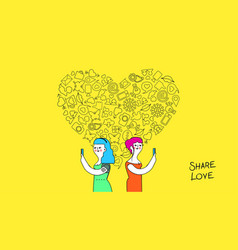 women friendship and love internet concept art vector image