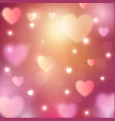 abstract romantic background with hearts and bokeh vector image vector image