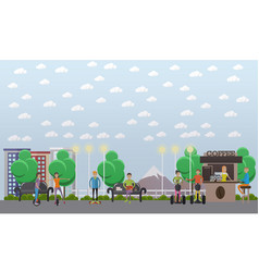 modern park concept in flat vector image vector image