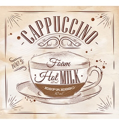 Poster cappuccino kraft vector image vector image