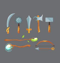 set of fantasy cartoon game design swords vector image