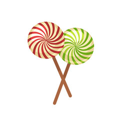 sweet crossed lollypops on wooden sticks isolated vector image vector image