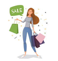 young woman street style with bags for shopping vector image
