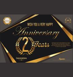 Retro vintage anniversary background 2 years vector