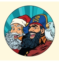 Santa and the pirate vector