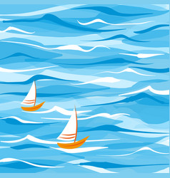 sea background with two boats vector image