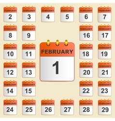 Set of icons for the calendar in February vector image vector image