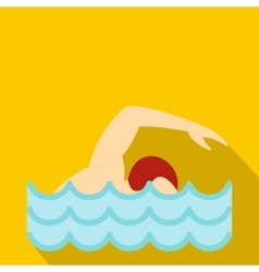 Swimmer crawling in pool icon flat style vector image vector image
