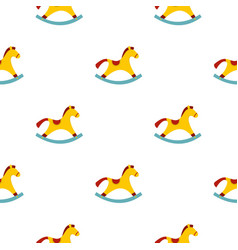 Yellow wooden rocking horse pattern seamless vector