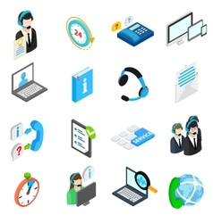 Computer service icons set isometric 3d style vector image vector image