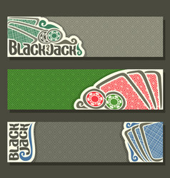 horizontal banners of black jack for text vector image