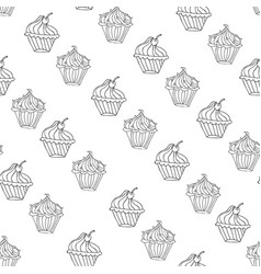 lovely cupcake dessert seamless background vector image