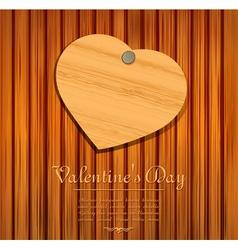 Wooden valentines heart card vector
