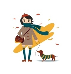 Young Pretty Girl Walking With Dog vector image vector image