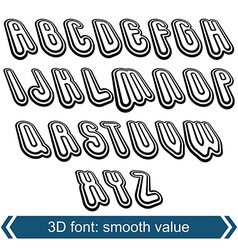 3d retro font in rotation stylish letters design vector