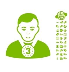 3rd Prizer Sportsman Icon With Free Bonus vector image