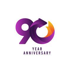 90 years anniversary gradient purple template vector