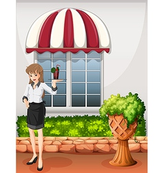 A waitress outside the restaurant carrying a tray vector