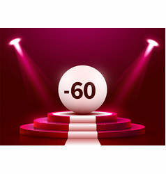 abstract round podium with sale ball illuminated vector image