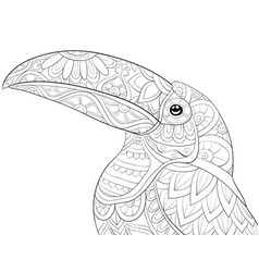 Adult coloring bookpage a cute toucan vector