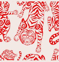 asian japanese tiger seamless pattern wild vector image