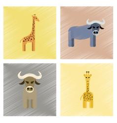 assembly flat shading style icons giraffe bull vector image