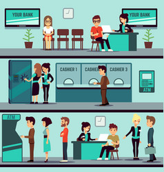 Bank office interior with people clients and bank vector
